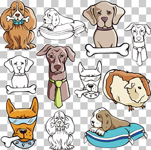 6 dogs eat bones PNG cliparts for free download.