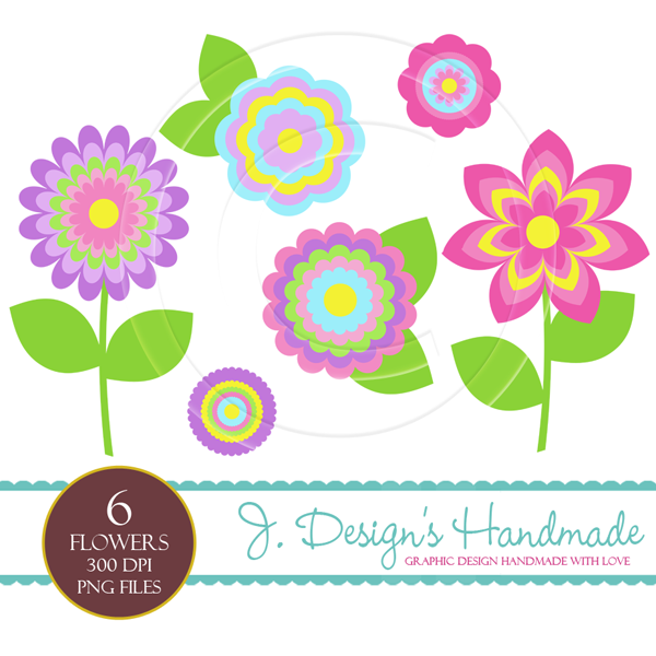 Pretty Summer Flower Clipart Set.