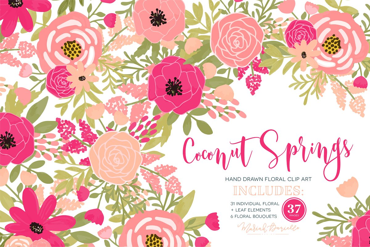 Coconut Springs Flower Clipart Set.