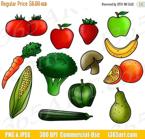Fruits and Vegetables Clipart, Fruit Clip Art, Vegetable.