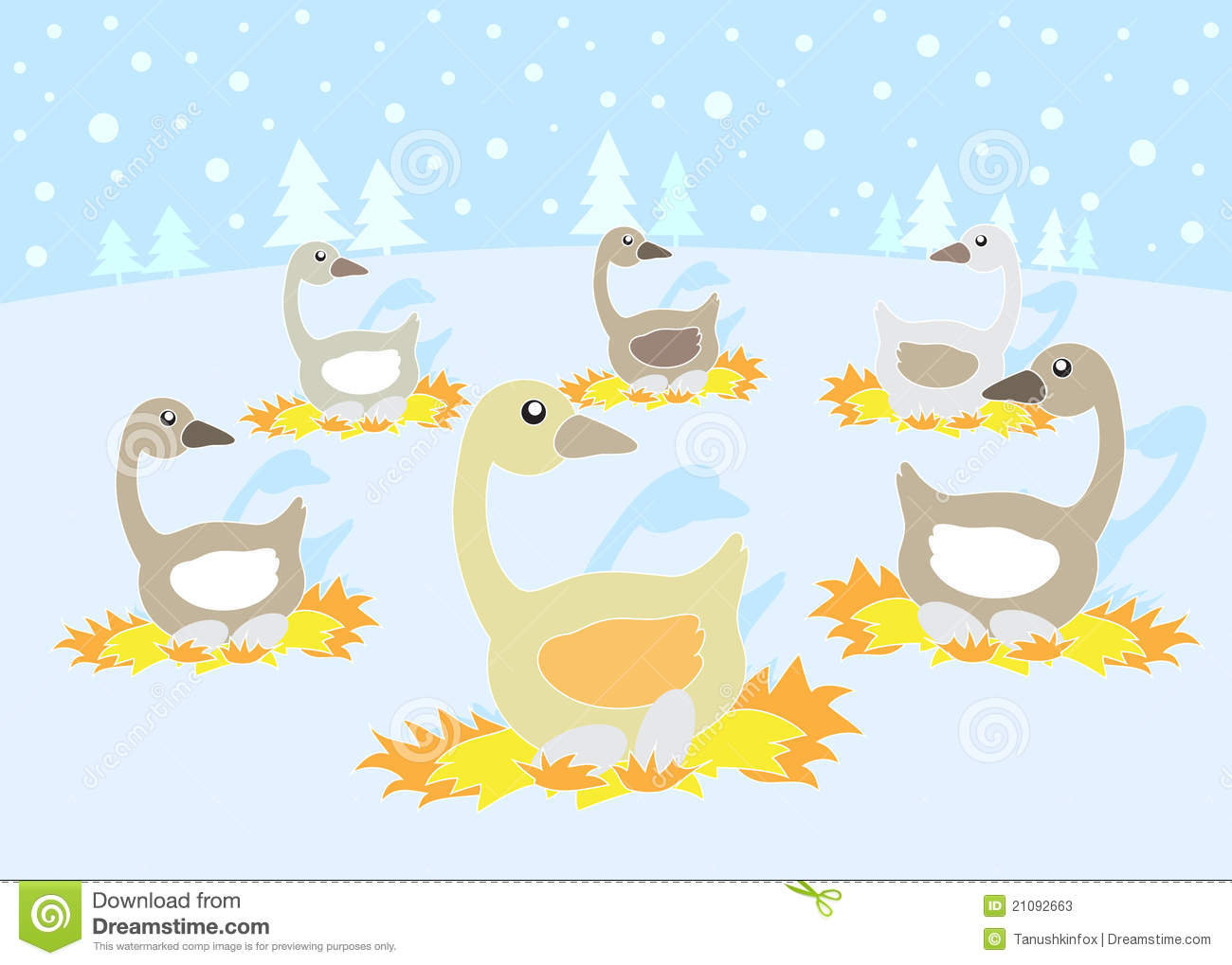 12 Days Of Christmas: 6 Geese A Laying Stock Vector.