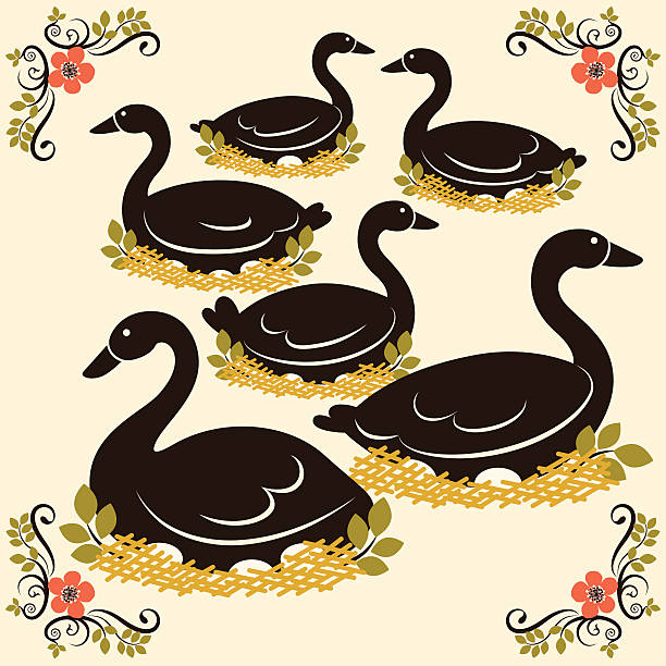 Six Geese A Laying Illustrations, Royalty.