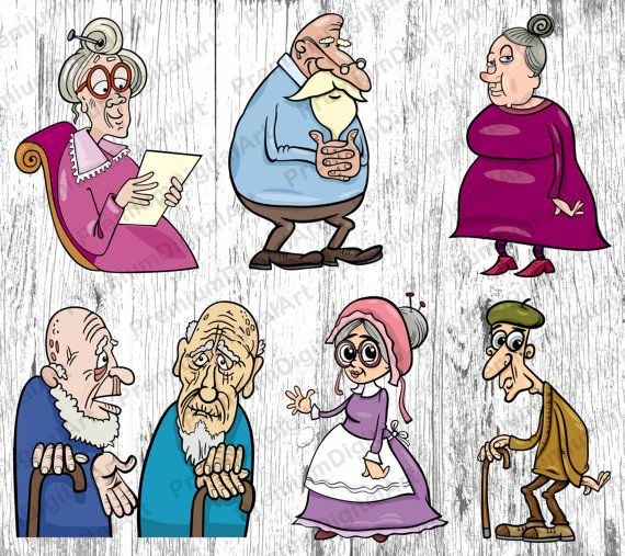 6 Cartoon old lady,Cartoon old man,grandfather Cartoon.