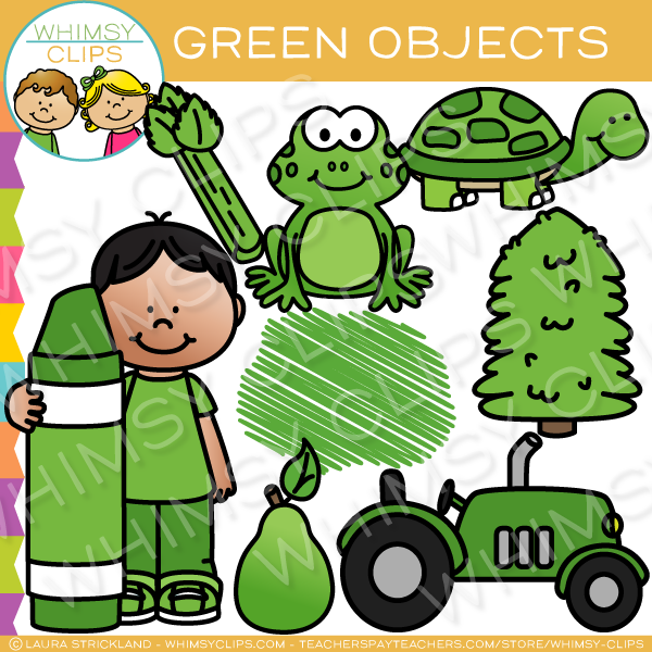Green Color Objects Clip Art.