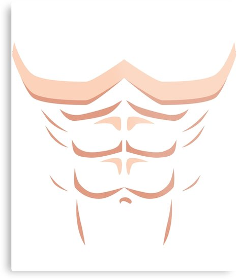 \'Funny Fake Six Pack Abs Big Muscle Chest Gift\' Metal Print by  JapaneseInkArt.