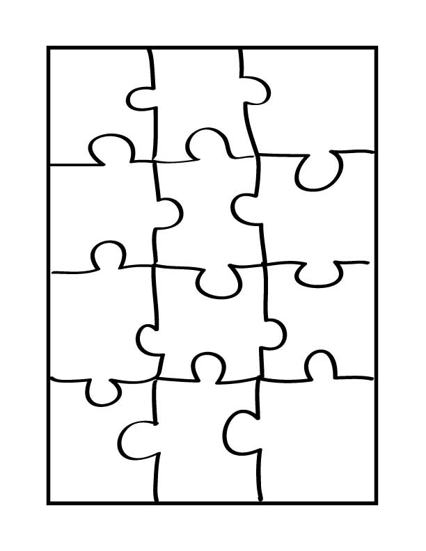 Puzzle Template 6 Pieces.