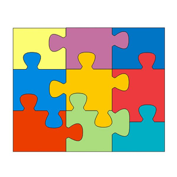 Puzzle pieces jigsaw color clipart.