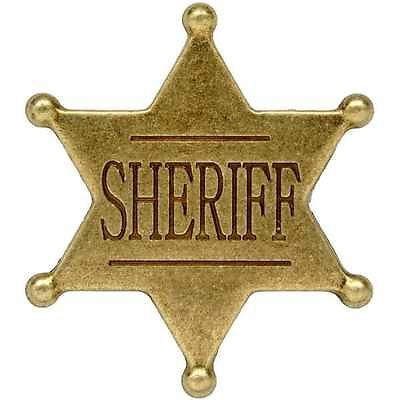 Small gold six 6 point ball sheriff star badge ~ western.