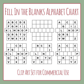 Alphabet Chart Fill in the Blanks Clip Art Set for Commercial Use.