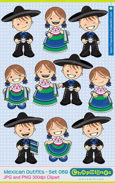 Mexican Traditional Outfits Clipart China Poblana and Charro Kids.
