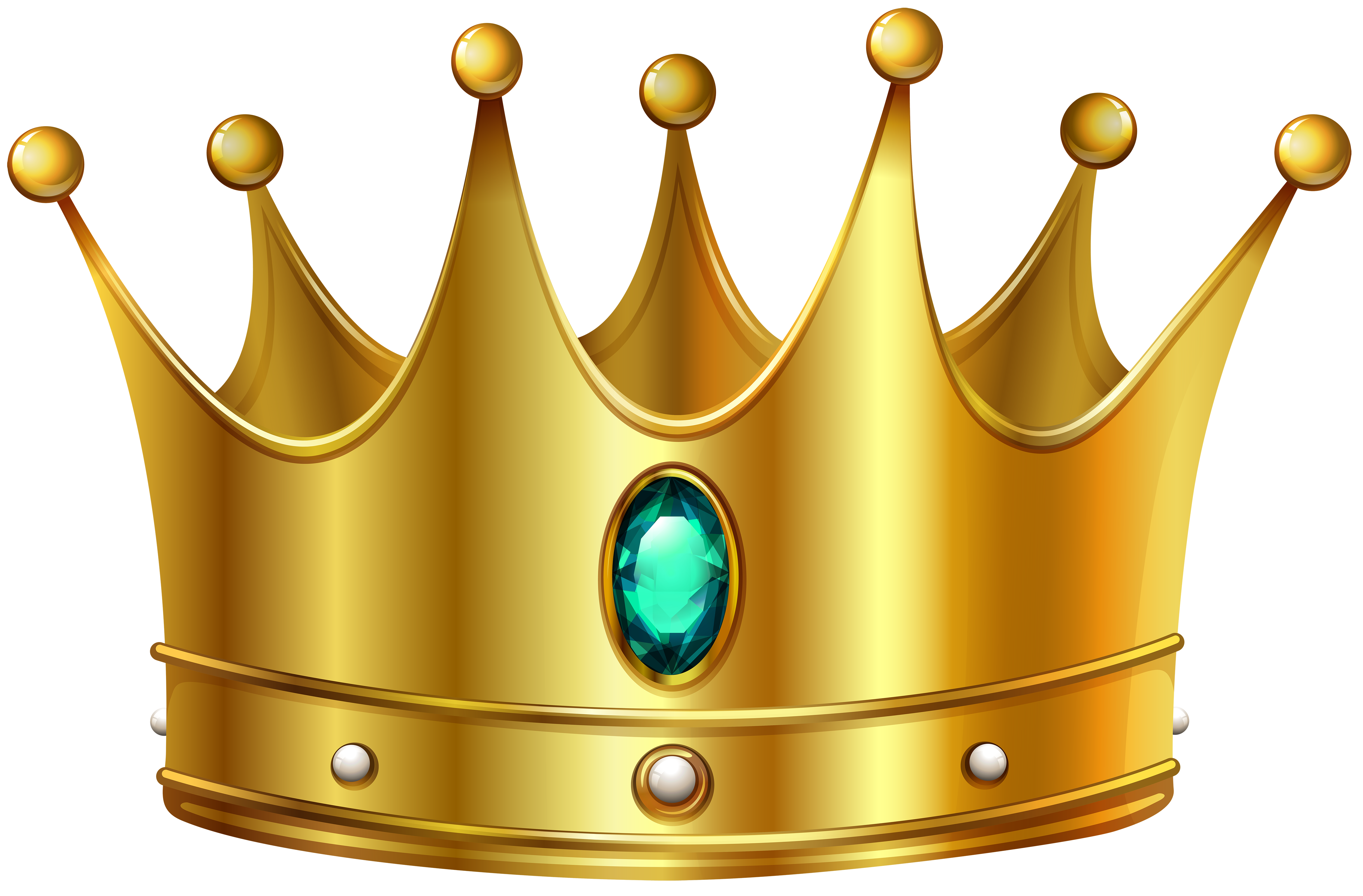 Gold Crown with Diamond PNG Clip Art Image.