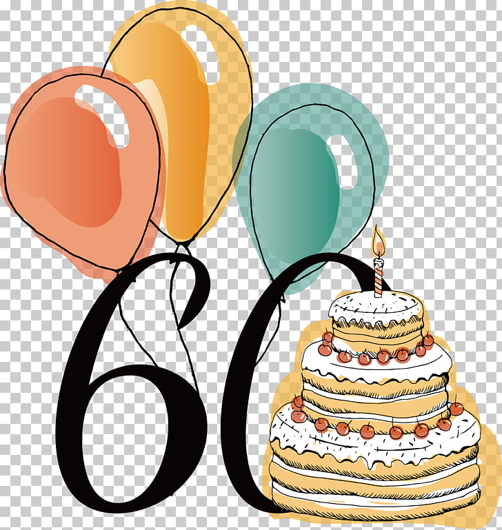 60th anniversary birthday PNG clipart.