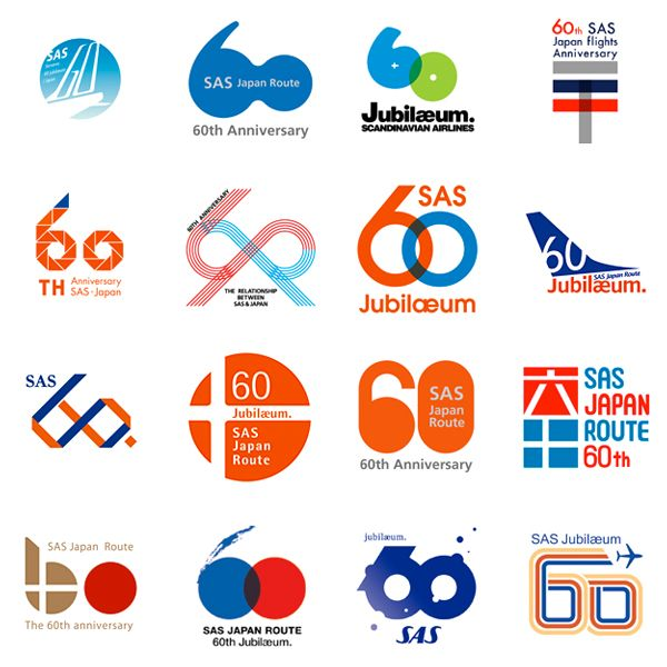 60th Anniversary logo proposals for SAS (Scandinavian.