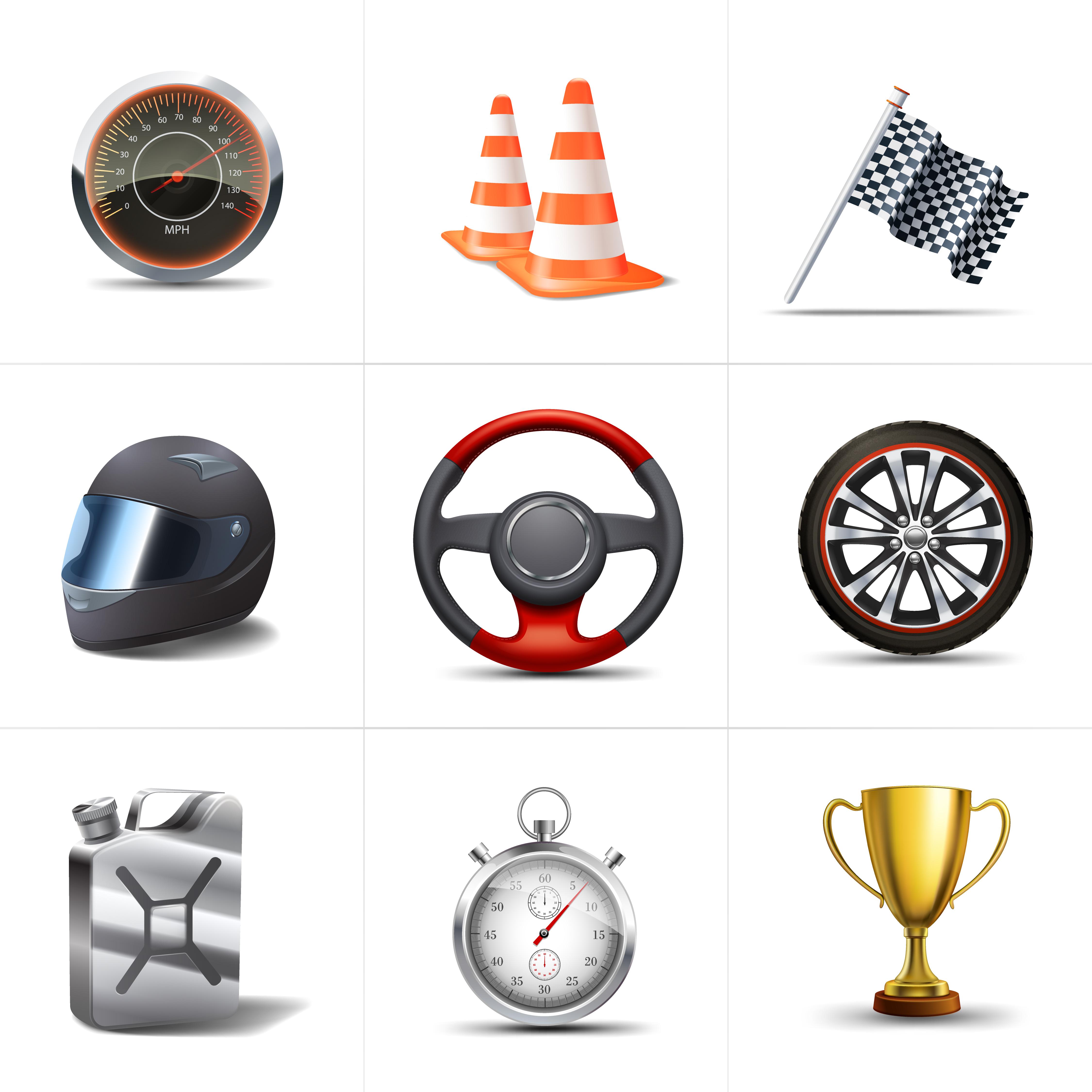 Racing Icons Set.