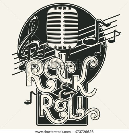 Rock and roll music emblem in 2019.