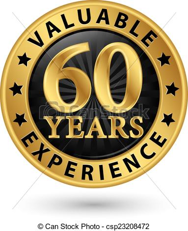 Vectors Illustration of 60 years valuable experience gold label.