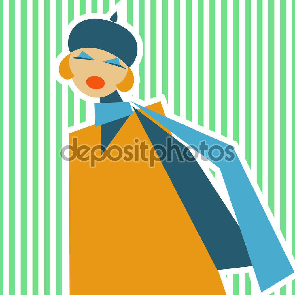 Woman in retro style of 60.