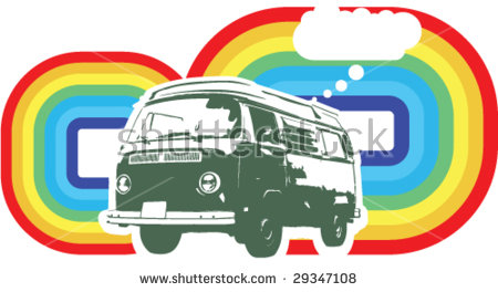 Hippie Van Stock Photos, Royalty.