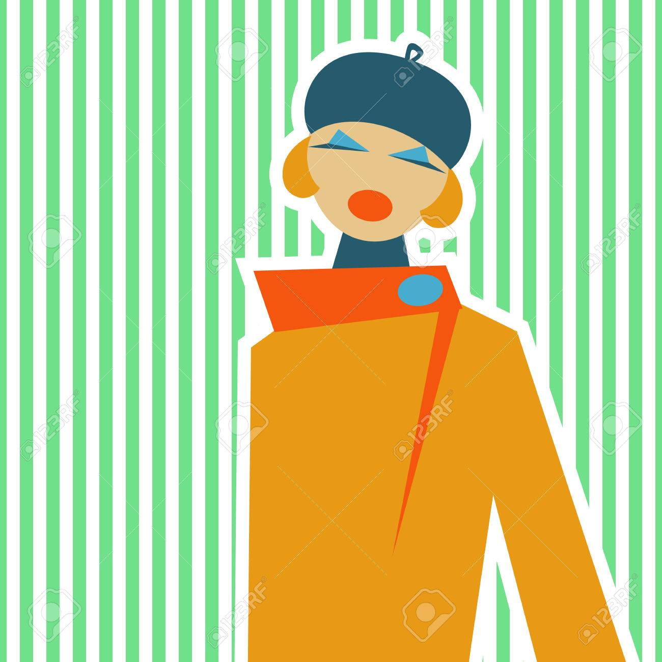 Woman, Made In A Retro Style Of 60.