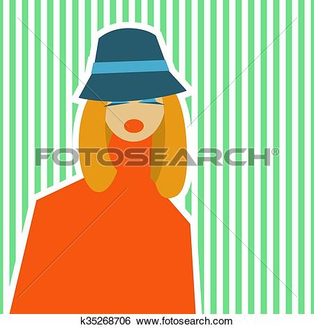 Clip Art of Woman in retro style of 60.