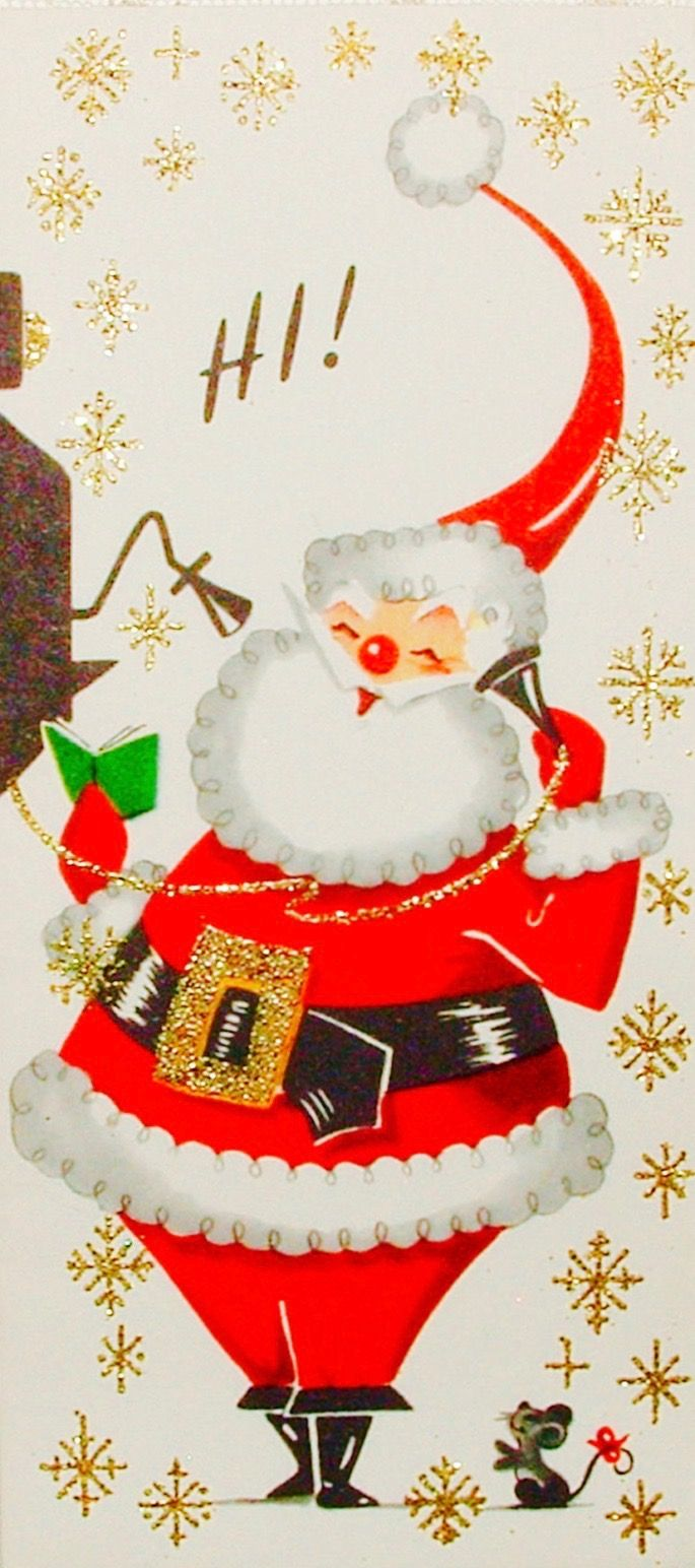 Santa on the phone. Retro Christmas card. Vintage Christmas.