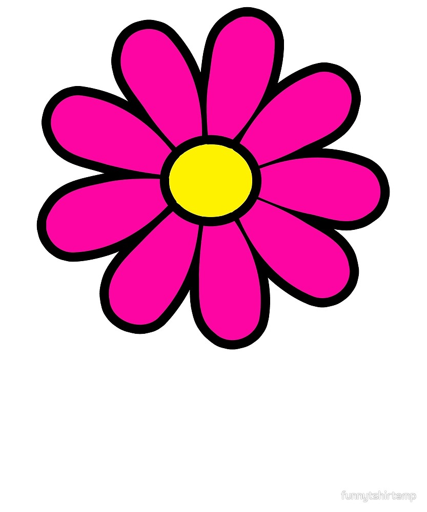 Happy pink Daisy Flower Power 60\'s 70s Retro Vintage Hippie.