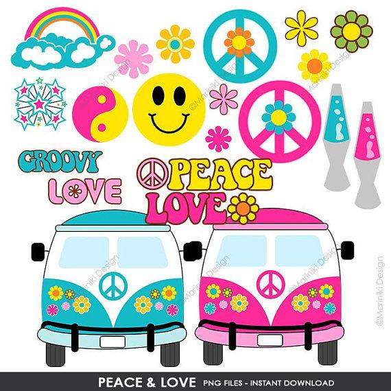 Peace Love Hippie Groovy Clipart, Peace Clip Art, 60s.