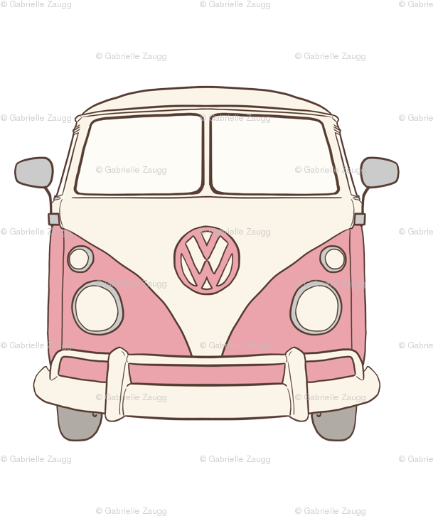 60s Volkswagen Van Clipart , Transparent Cartoon.