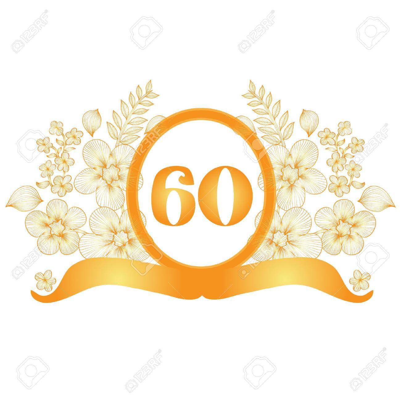 60th anniversary golden floral banner, design element.