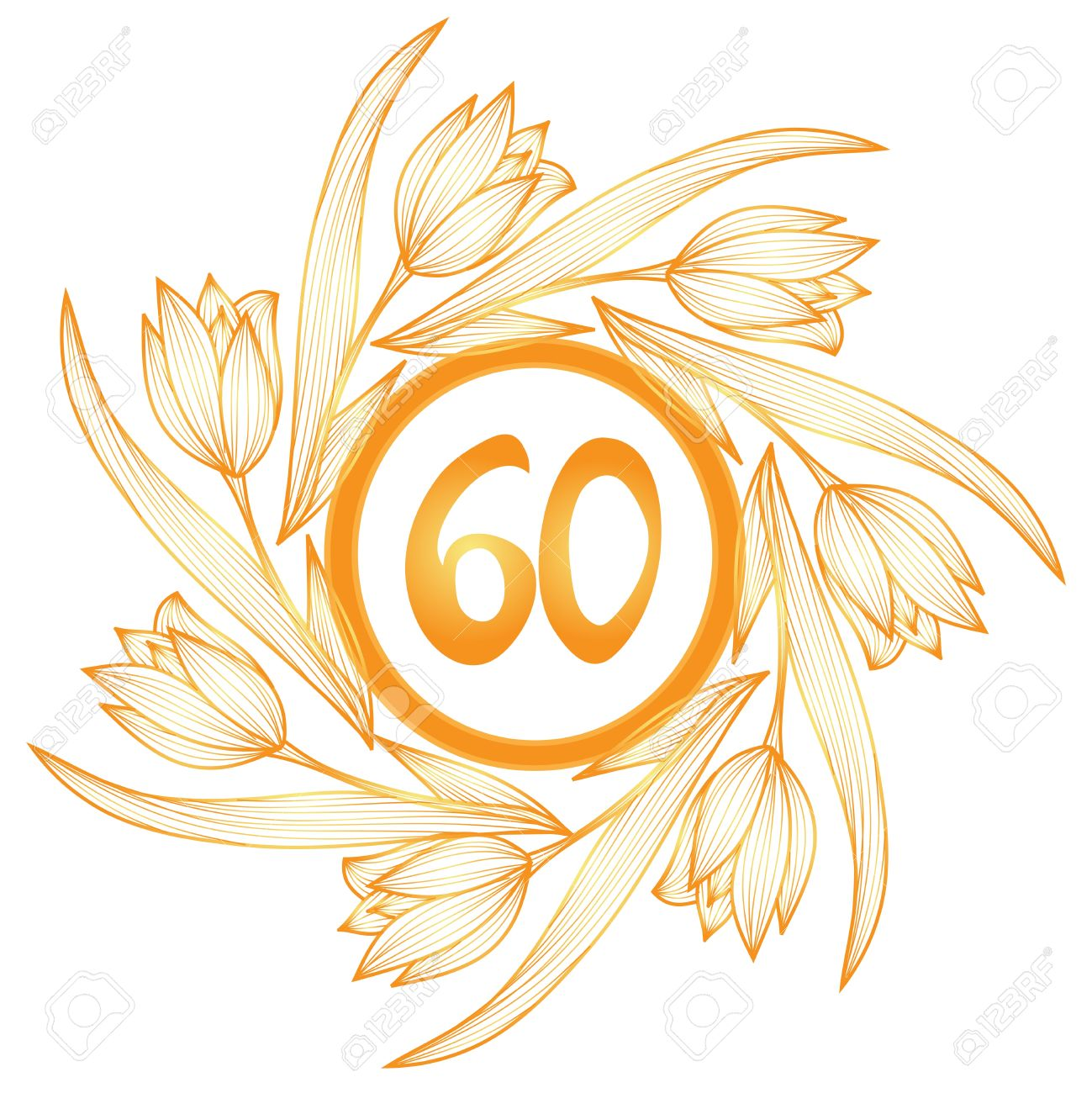 60th anniversary golden floral banner.