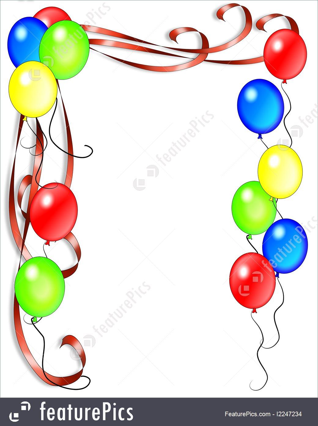 Birthday Invitation Balloons Border Royalty.