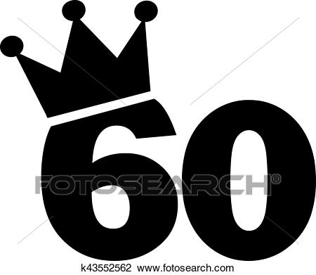 60th Birthday number crown Clipart.