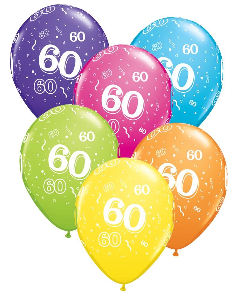 60th Birthday Balloons Pk6.