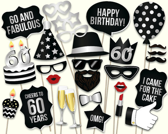 60th Birthday Photo Booth Props Printable PDF Black And Silver