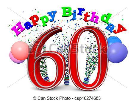 60th Birthday Cakes Clipart.