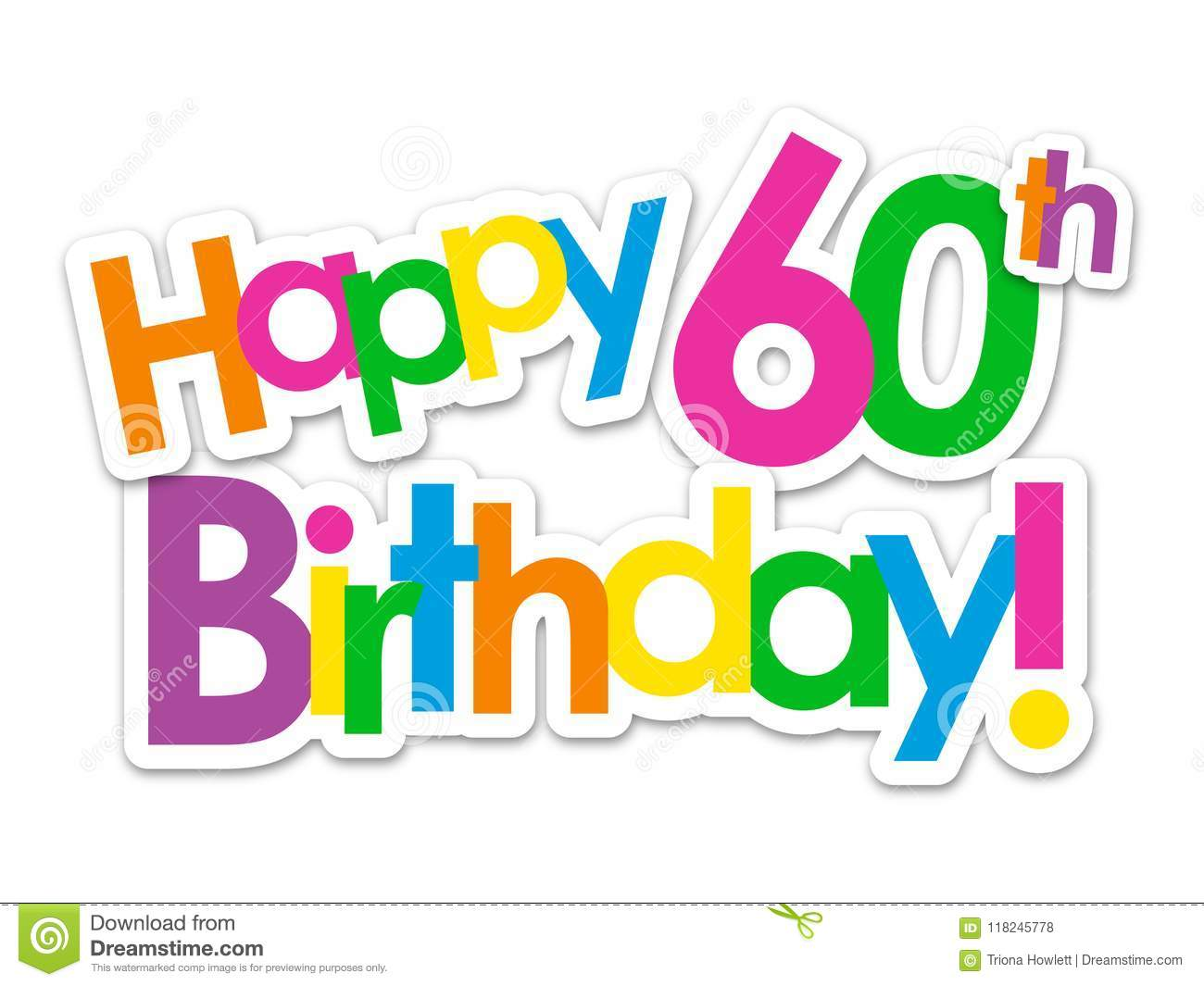 HAPPY 60th BIRTHDAY! Colorful Stickers Stock Illustration.