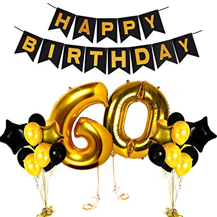 60th Birthday Decorations Wedding Anniversary Centerpieces Cake Topper  Happy Bday Balloon Banner for Party Black and Gold Photo Booth Props Unique.