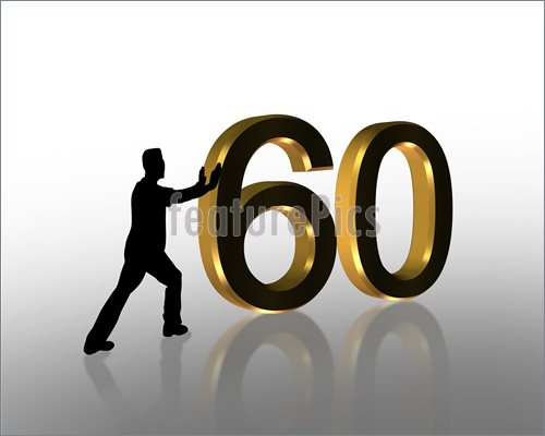 Celebration: 3D Illustration of man pushing numbers for 50th Birthday  invitation or anniversary card or background.