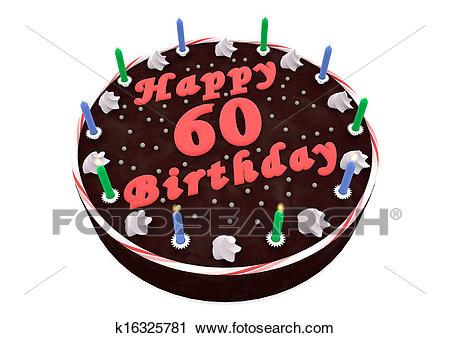 Chocolate cake for 60th birthday Clip Art.