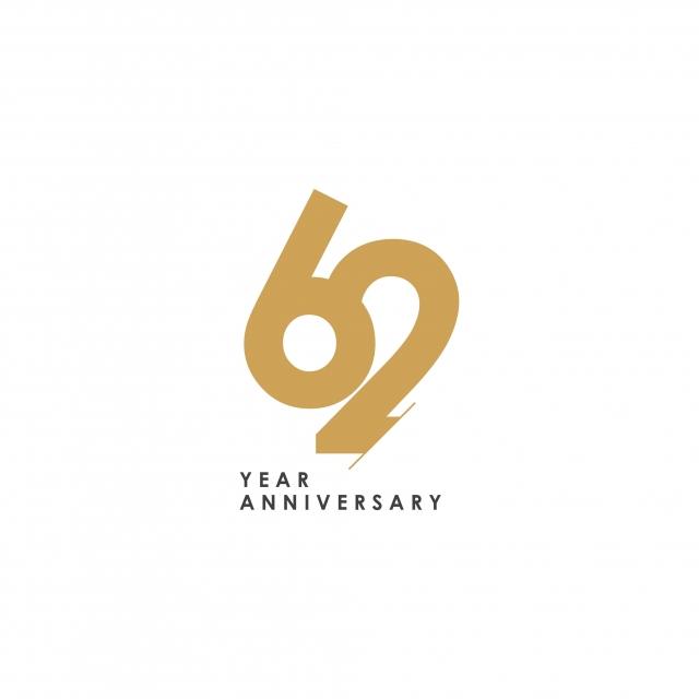 62 Year Anniversary Logo Vector Template Design Illustration.