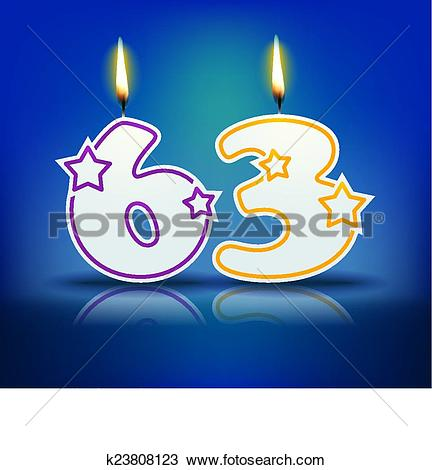 Clipart of Birthday candle number 63 k23808123.