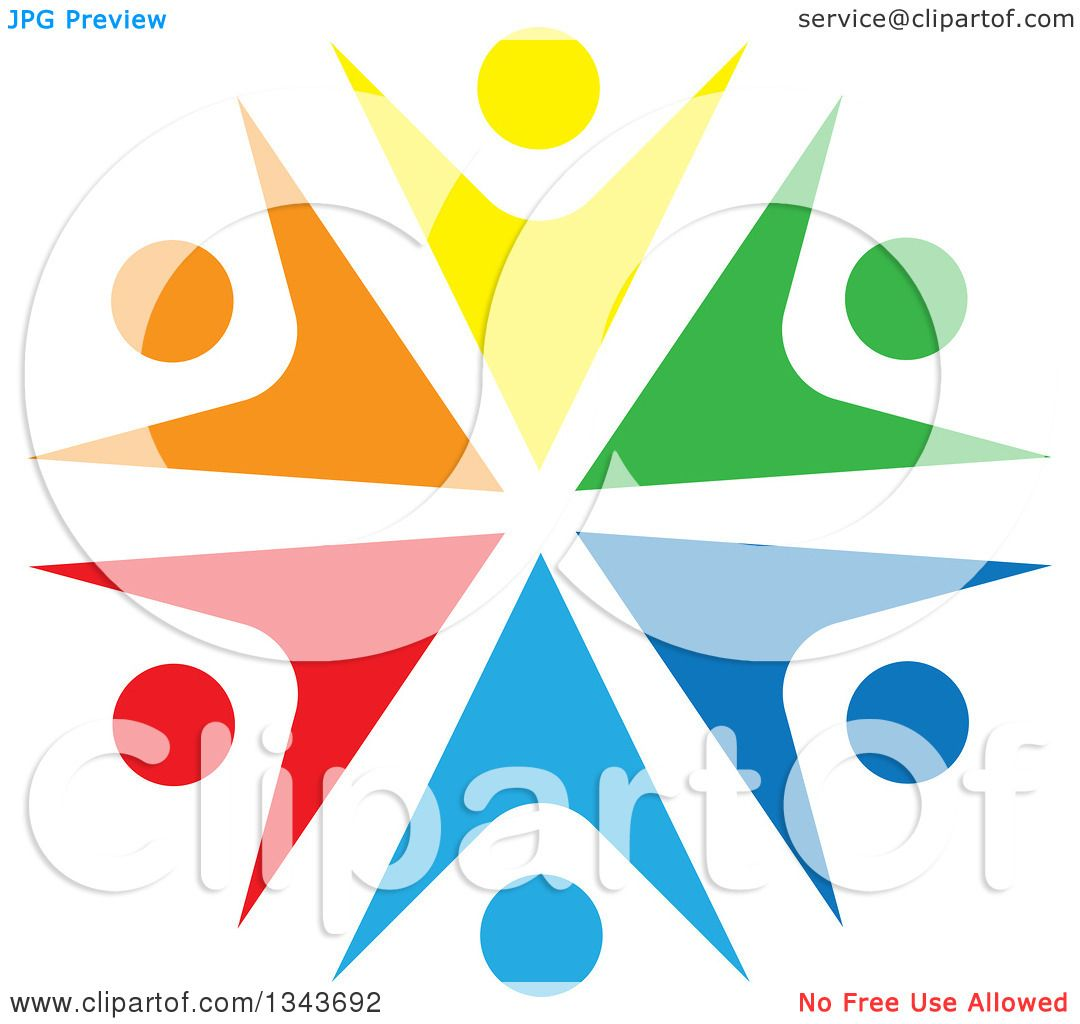 Clipart of a Teamwork Unity Circle of Colorful People Cheering or.