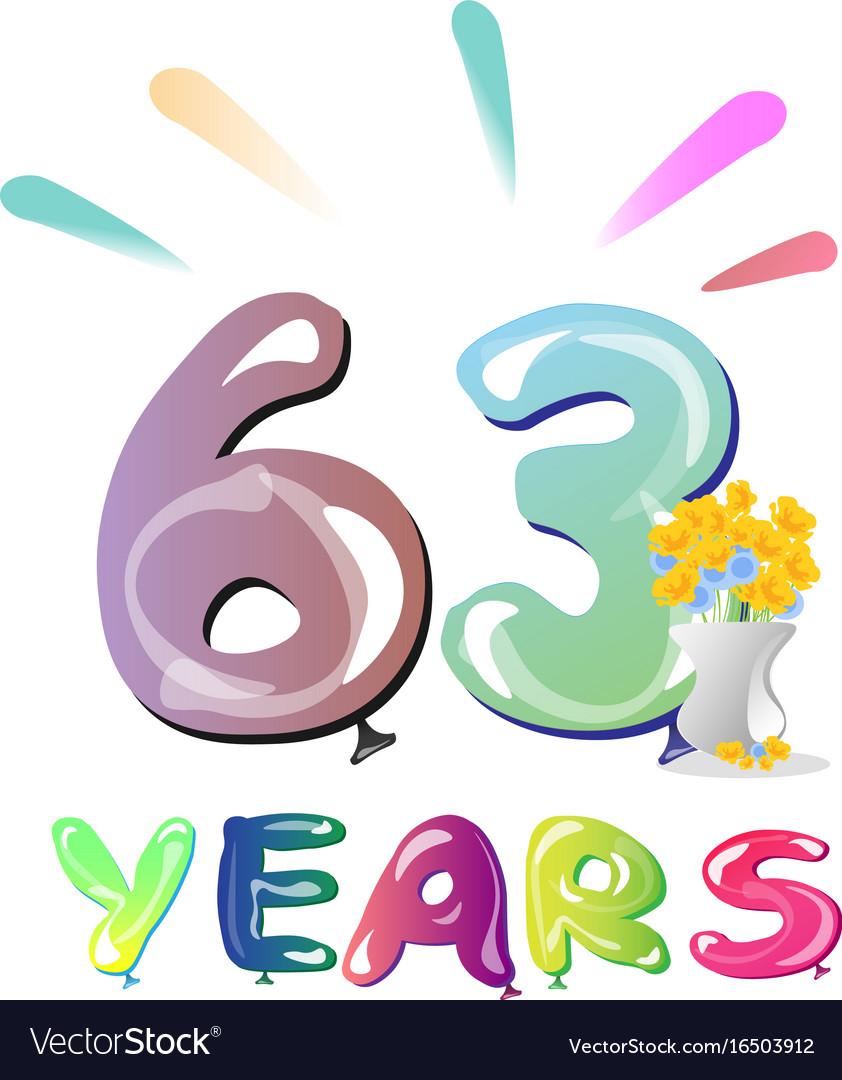 63rd birthday celebration card.