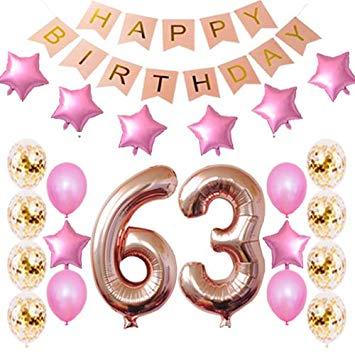 Amazon.com: 63rd Birthday Decorations Party Supplies Happy.