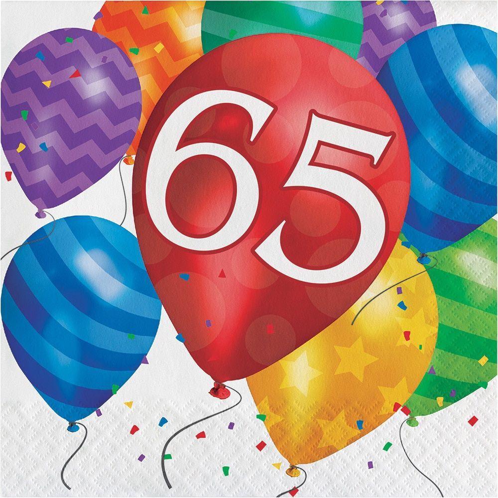 Creative Balloon Blast 65 Years Old Lunch Napkins.
