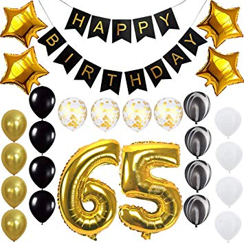 Amazon.com: Happy 65th Birthday Banner Balloons Set for 65.