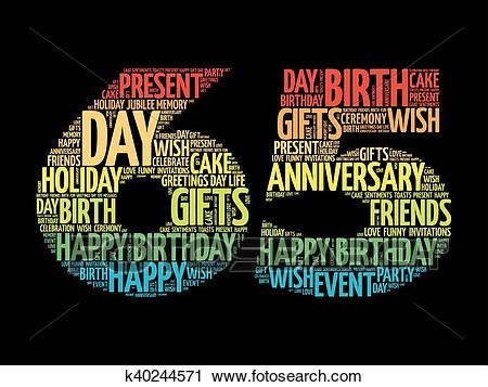 Happy 65th birthday word cloud Clipart.