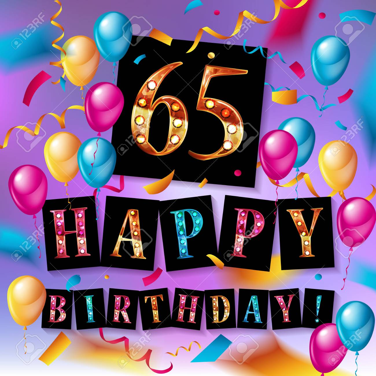 65th happy birthday poster template vector illustration.