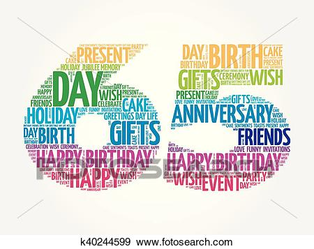 Happy 65th birthday word cloud Clip Art.