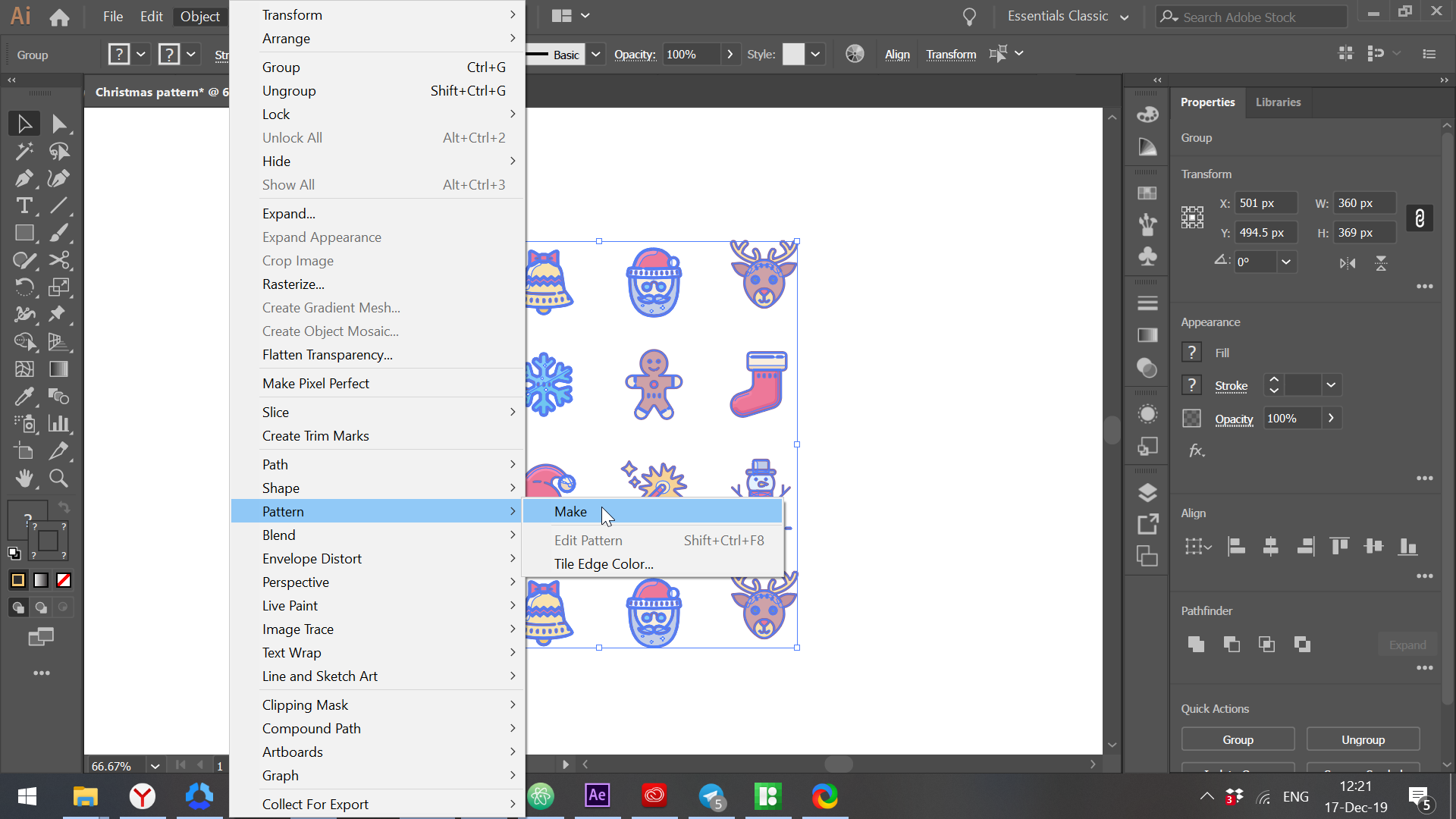 How to Create Seamless Christmas Pattern: Step by Step Tutorial.